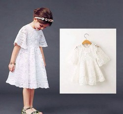 Princess flower girl Tulle dress Hollow out first birthday lace dress for kids