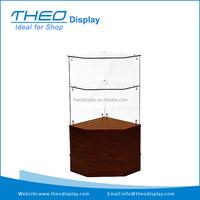 Free Standing Cherry Frameless Glass Open Corner Display Showcase