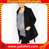Wholesale maternity jackets high quality waterproof double zipper black nylon/polyester pregnant women clothes