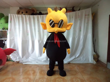 Advertising Adult Wearing Polyfoam Version Fashion Black Dragon with Yellow Head Mascot Costume