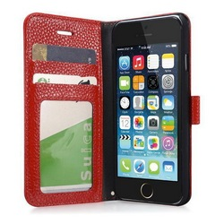 Ebay best selling genuine leather book case for Iphone 6 4.7 inch with litchi grain ID card slots