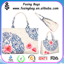 Factory Wholesale blue and white porcelain printing tote bags with zipper to be customized