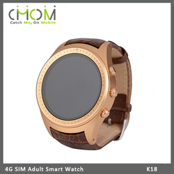 3G WIFI GPS smart watch phone with round display screen support WCDMA network and heart rate monitor function --- K18