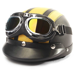 2015 New Arrival Special Offer High Quality Motorcycle Half Open Face Leather Helmet With Sun Visor and Goggles