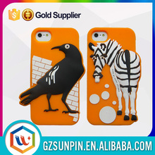 funny cartoon silicone custom back cover case for iphone 5