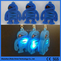 portable mini robot shape silicone led key chain