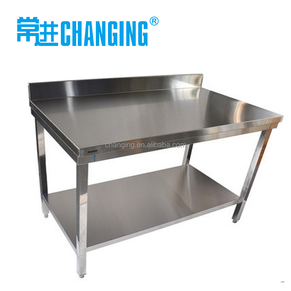 Stainless steel kitchen table hotel kitchen work table with backsplash buy work table work - Steel kitchen tables ...
