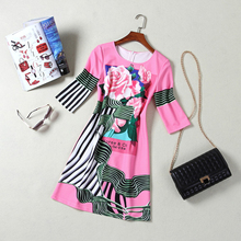 China Style Pink And Blue Color Flowers Printed Striped Half-Sleeved Elegant A-line Dress 3096
