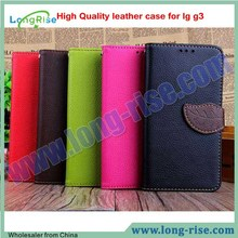 Lichee Pattern Leaf Magnetic Wallet Leather Flip Cover for LG G3 Case with Strap