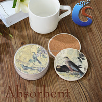 decal round stone coaster with cork on the back wholesale PVC box