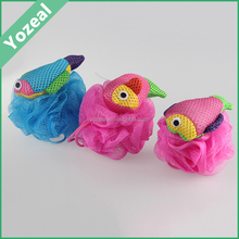 Fish design animal shaped baby bath loofah mesh sponge