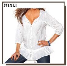El escote redondeado con puntilla que Camisa <span class=keywords><strong>blusa</strong></span> mujer con puntilla 100% <span class=keywords><strong>algodón</strong></span>