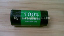 HDPE garbage bags on roll with paper lable
