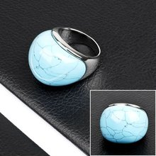 Round Stone Ring 2012 Stainless Steel Blue Stone Ring Jewelry(DR10099)