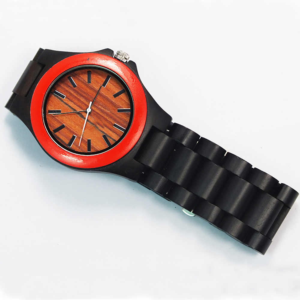 new brand black / red sandal wood watch custom dial man wooden watch