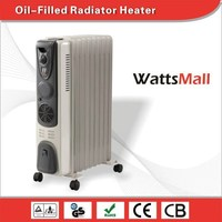 Low Profile Portable Oil Filled Radiator Heater & Room Heater Grey with Adjustable Thermostat