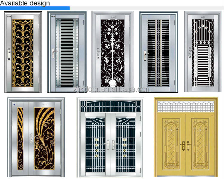 Jk ss9041 entrance stainless steel double swing glass for Entrance door designs for flats in india