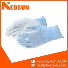 Polyester pu glove with dots for garden working