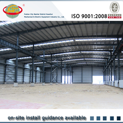 Pre engineered fast install steel metal house with 5 tons crane