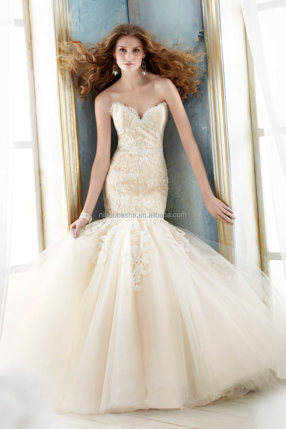 2015 Champagne Mermaid Wedding Dress With Jacket Sweetheart Full ...