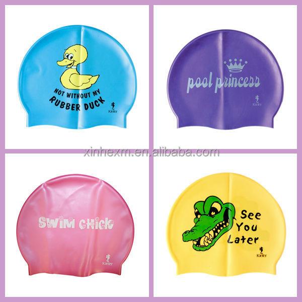 Customized logo printing silicone waterproof swim caps