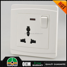 Newest developing 1 gang universal electric switch and socket PC switch socket install in 2015
