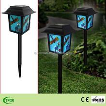 Chinese dragonfly glass lantern plastic stake solar light for garden decoration led light
