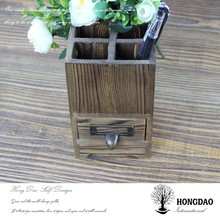 HONGDAO handmade eco-friendly wooden pen container with drawer