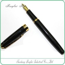 logo engraved black color shiny metal top ball pen