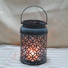 Country Rustic Galvanized Metal Decorative Candle Holder Lantern with Handle