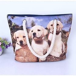 Hot transfer custom print dog bag with rope handbag with dog picture