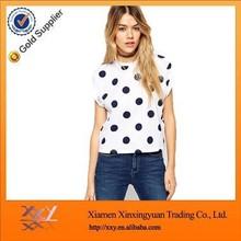 2015 Latest Design Women White T Shirt Full Printed Black Spot