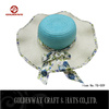 2015 new designs Womens Wide Floppy Sun Hat With Polka Dot Scarf