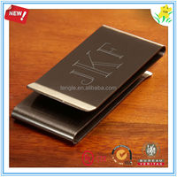Chrome plated metal brand money clip with laser engraving
