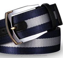 Men's blue and white fringe leisure canvas belt with leather trim
