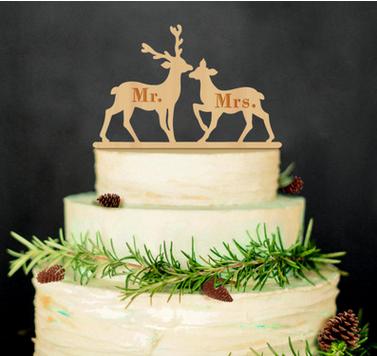 wholesale DIY wood carving craft decoration reindeer of deer cake topper