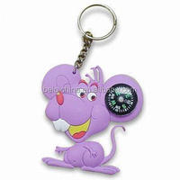 Compass design pvc keychain supplier,custom production pvc keychain