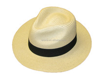 Mens ladies packable summer panama straw fedora hat with black band HT2860
