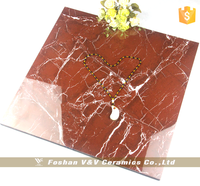 Bright Red Color Full Polished Glazed Floor Tiles 600x600mm