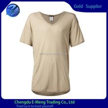 Mens v-neck loose beige plain t shirt wholesale