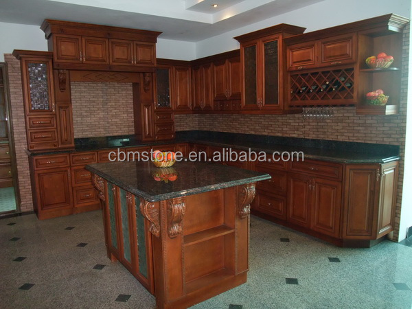American style modern solid wood kitchen cabinets design for Solid wood modern kitchen cabinets