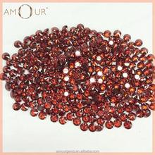 AAA quality brilliant cut round red garnet cubic zirconia gemstone