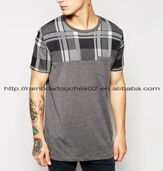 rounded hem longline plaid joint led t shirt wholesale