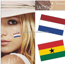 custom Brazil World Cup Soccer Flag Face Tattoo Sticker ,Nail Sticker/Safe Temporary Tattoo Sticker for Football Fans