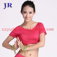 Hot sale ice silk charming women short sleeve belly dance practice costume top S-3022#