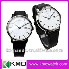 Brand leather couple watch with 2 layers dial