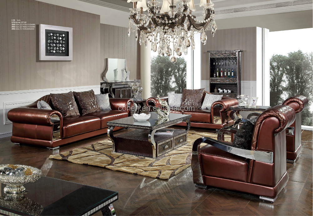 2015 new design living room furniture luxury leather for Exclusive living room furniture