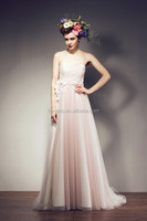 Women party dresses strapless beautiful peach bridesmaid dresses simple chiffon new fashion evening dresses