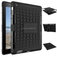Low price china mobile phone Heavy Duty Shockproof PC+TPU Cover stand case for ipad 4 / 3 / 2 paypal accept