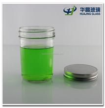 High quality 200ml 6oz cylinder hermetic clear empty storage jam glass mason jar with silver twist off lid wholesale